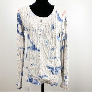 Blue and white tie dye sweater